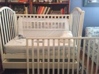 Barely used white crib used only for visiting grandson