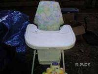 White Crib no mattress $25.00, High Chair good