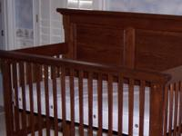 Description Dark oak crib set includes crib, changing