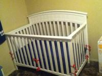 White wood crib with mattress asking $120 OBO thanks