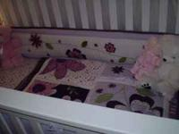 Girl crib bedding in great condition. Mobile pretty