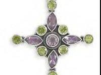 This stunning Amethyst and Peridot cross design pendant
