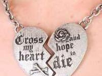 "15"" long chain ""Cross my Heart & Hope to Die"" engraved"