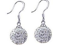 Genuine Austrian rhinestone crystal Ball Hook Earrings.