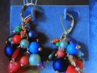 Natural Stone & Crystal Chip Earrings $10.00;