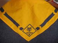 Cub scout neckerchief (yellow, w/ blue design). Cash