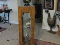 "This fruitwood curio cabinet (36""x12""x12"") is a lovely"