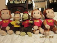6 Curious George animals 3.00 each