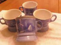 I am parting with 4 beautiful Currier and Ives mugs.