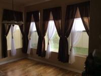 "84"" brown curtains with white sheer curtain- $12 total"