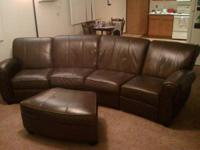 For Sale: Curved Reclining Chocolate Leather Sofa w/