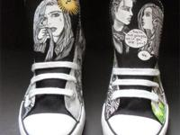 Custom Adult handpainted Sneakers/Hi Tops Graphic Novel