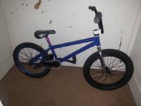 Nice custom blue Bmx. It has no brake or pegs. It rides