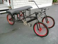 A bicycle-car thing I built myself a few years ago, me