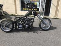 This is a custom three year build chopper that has a