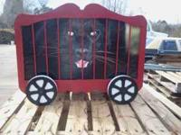 For sale is a custom built Circus Train Toy Box made of