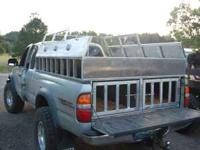 Custom built aluminum dog hunting boxes for truck,
