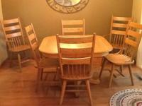 Solid Oak Pedestal Dining Set - includes 4 chairs, 2
