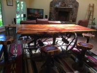 Custom made Western cedar dining table and 6 swivel
