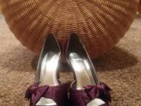 Size8 Custom plum high heels from David Bridal. Worn