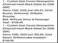 Custom seat covers for GMC truck. Front and rear.