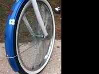 "26"" Chrome Fan Blade rims. Bike is now painted blue"