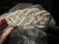 This Custom Crystal and Pearl Crown Wedding Headpiece