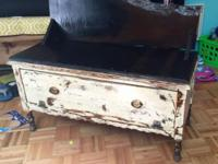 I built this bench from the base of an antique armoire,