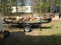 very distinct personalized fishing canoe. Canoe