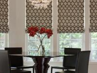 Custom-made Roman shades to your precise measurements.
