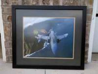Custom matted and framed fighter jet print in excellent