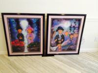 Pair of custom-framed prints, black lacquer frames