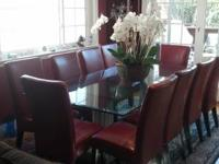 Custom Glass and Solid Granite Dining Room Table room