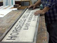 "Each custom 'made-to-order"" faux antique sign is"