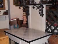 Custom made kitchen work station. Porcelain/enamel top