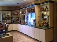 Custom made cabinets that are lighted and can separate