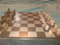 "Solid Surface Chess Board with Onyx Stone Pieces 13"" X"