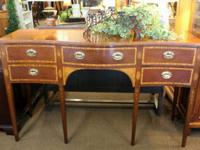 Fabulous walnut sideboard buffet w/mahogany inlay. In a