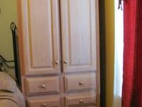 Beautiful custom-made white-washed oak armoire for