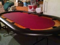 Custom ordered 10 person Poker Table, hardwood finish