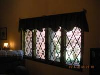 Dark forest green  custom made valances with a faint