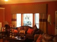 New Custom made window treatment( wood cornice covered