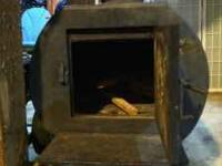 Here is a really heavy-duty custom wood stove with a