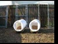 I have 30 -55 gallon plastic barrel doggie houses
