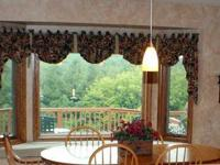 This customized, totally lined, window treatment comes