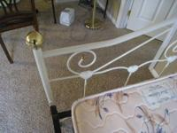 Adorable daybed! White enamel hearts, brass knobs. Sure