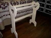 heart shaped solid wood quilt rack...painted a cream
