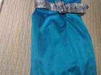CUTE STRAPLESS TURQUOISE DRESS WITH A FUNKY BELT...WORN