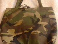 Camo tote. New Three Pockets Ribbon closure(brown and