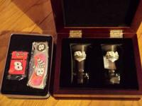 DALE JR #8 SHOT GLASSES......LIGHTER AND KNIFE